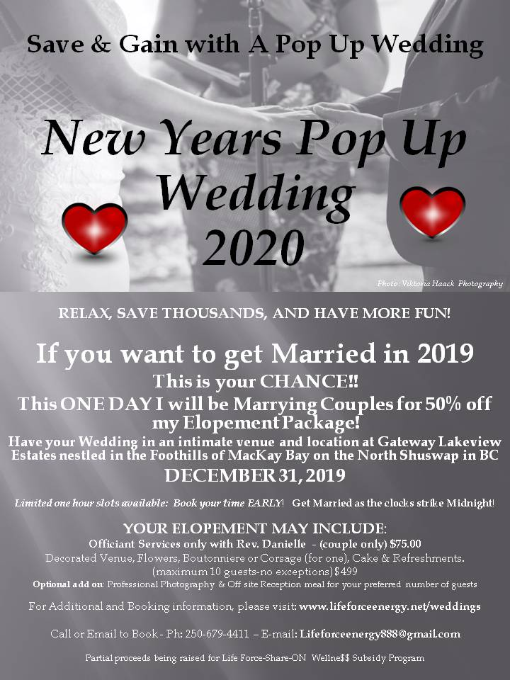 New Years Eve Pop Up Wedding 2020
